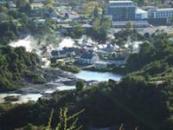 View over Whakarewarewa village, Rotorua, NZ.