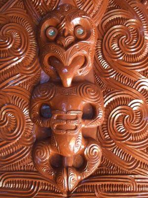 Maori wood carvings at Te Puia Thermal Reserve