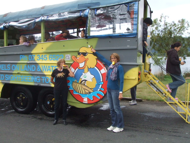 Rotorua duck - myself and friend Fiona embracing the duck call on our quackers