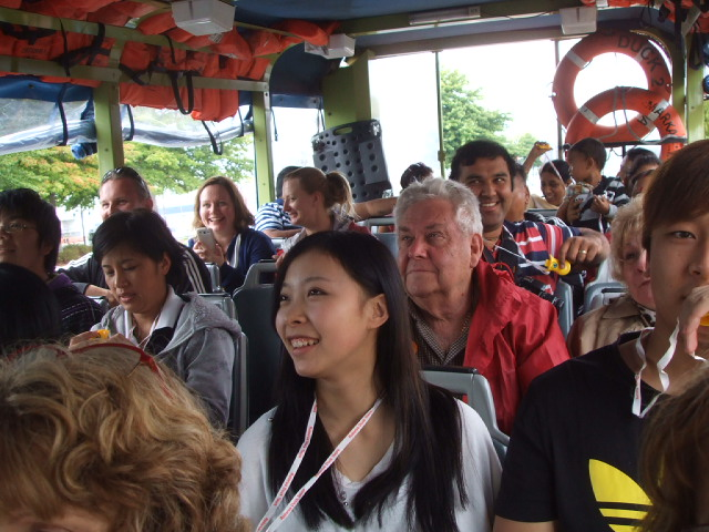 Rotorua duck passengers - mostly engaged with the conductor