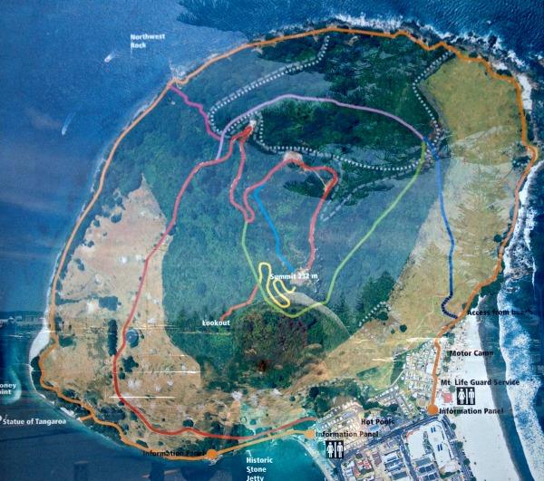 (Mauao) Mount Maunganui walking tracks map.