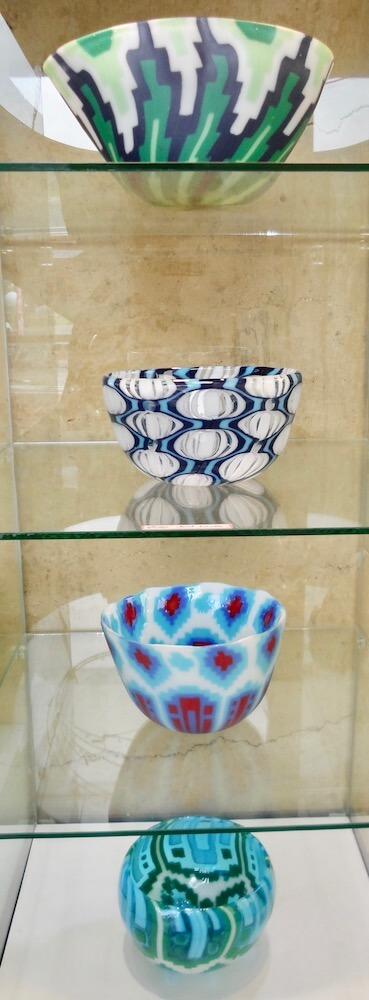Sculptured glass bowls made by Heather Kremen