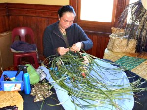 A first year flax weaving studen