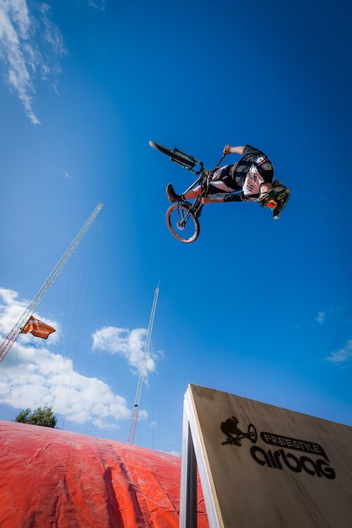 New Zealand's first dedicated bike airbag, the Freestyle Airbag, located at Rotorua's Agroventures. The place to test your aerial tricks prowess - with a soft landing should things happen to go wrong.