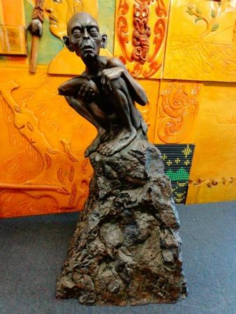 Hobbiton Tour - Gollum's bronze sculpture at Matamata.