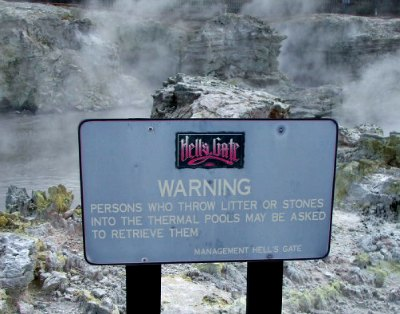 A warning sign at Hells Gate Rotorua