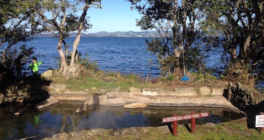 View from Hinemoa's Pool on Mokoia Island across Lake Rotorua to Rotorua city.