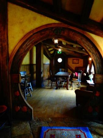 Interior view of the Green Dragon Inn at Hobbiton, NZ
