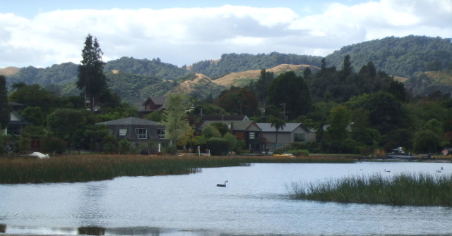 Lake Okareka houses are sited right on the shoreline.