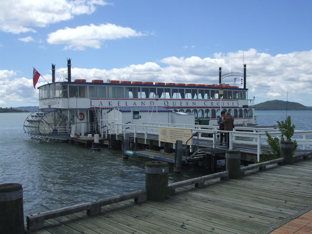 Lakeland Queen, Rotorua, NZ - Moored at the Lakefront