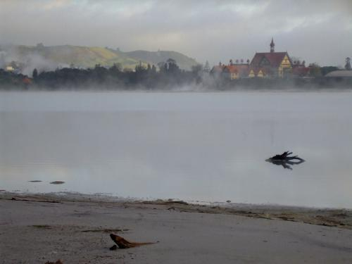 View from Sulphur Point Flats to the Bath House, Rotorua