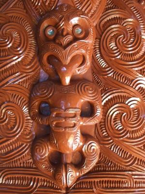 Maori wood carvings at Te Puia Thermal Reserve