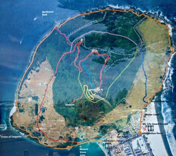 (Mauao) Mount Maunganui walking tracks map.