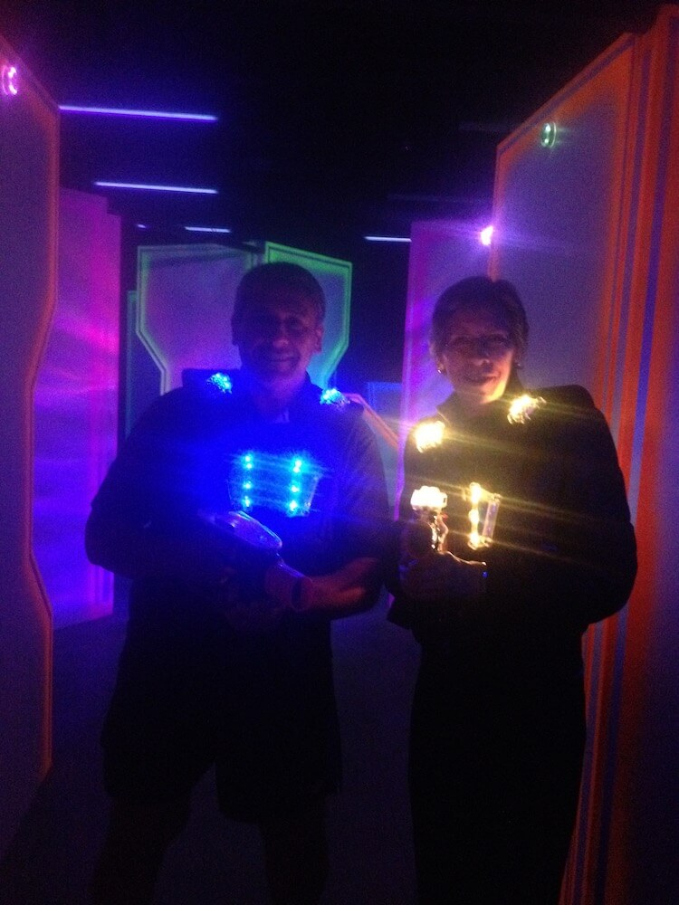 Author and brother playing Megazone Laser Tag