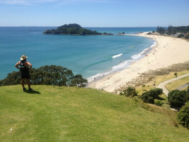 View of Mount Maunganui beach from the Mount.