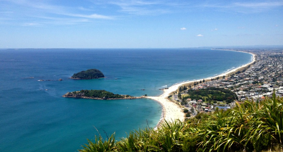 The Mount Maunganui view from the Mount.