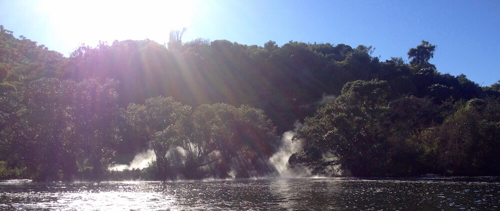 On cold mornings, mist rises from Hinemoa's Pool and other thermal outlets.