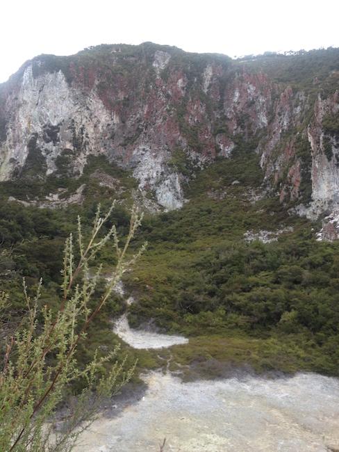 Rainbow Mountain's ochre coloured cliffs.