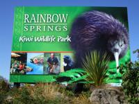 Rainbow Springs sign located at the entrance, Rotorua, NZ