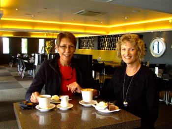 Rotorua Cafes - A friend, Fiona and I having coffee at Urbano Bistro