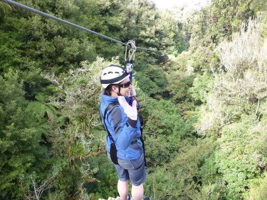 Ready to launch into the air on the zipline eco tour.