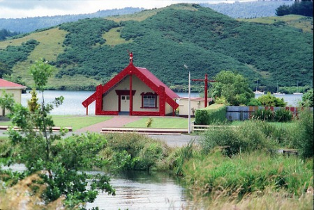 Rotorua Marae Stay - Te Takinga Marae at Lake Rotoiti with  the Ohau channel to the fore. For illustration only as they don't have marae stays here.