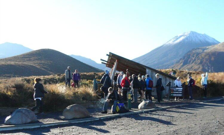 Tongariro Crossing - Mangatepopo Rd entrance to the crossing track