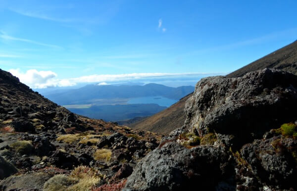 Views of Lakes Rotoaira and Taupo from a Tongariro Crossing pass. New Zealand