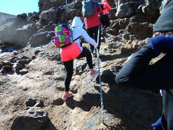 Tongariro Crossing chain ascent.