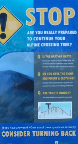 Tongariro Crossing - Stop Sign