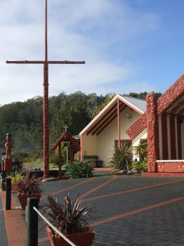 Whaka Village poupou dedicated by a Japanese officer before the war.