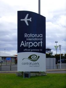 Rotorua airport sign