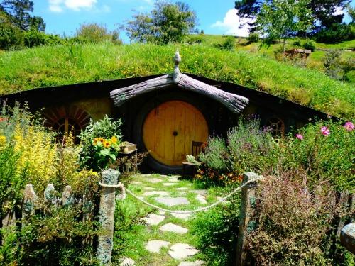Hobbiton Tour - Hobbit hole on the movie set.