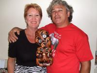 My friends Karen & Laurie with their Tiki from Ohinemutu Maori Handcrafts. They are so proud of it.