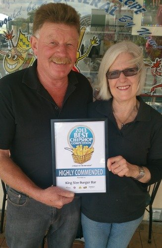 King Size Burger Bar, Rotorua - Sue received a Highly Commended Award in the 2013 Best Chip Shop Competition