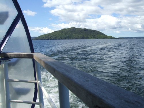 Mokoia Island from the back of the Lakeland Queen, Rotorua