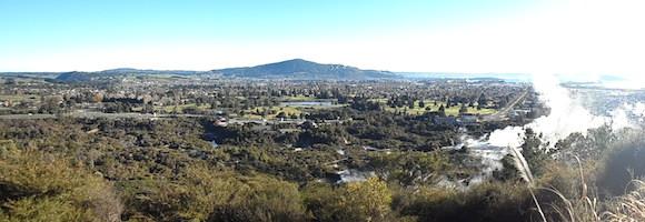 Rotorua, New Zealand; view from the Trigg at Whakarewarewa.