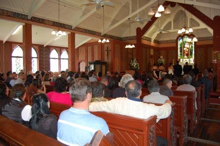 Interior of St Faiths Anglican Church at Ohinemutu, Rotorua, NZ