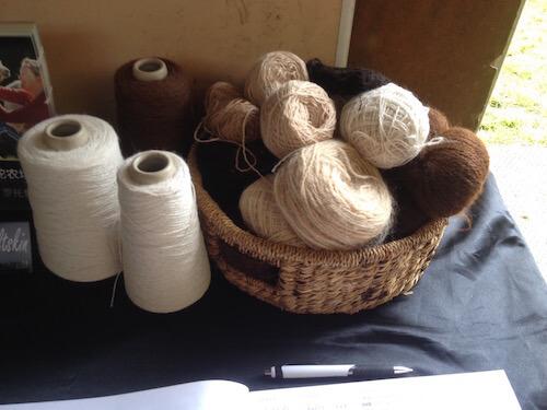 Balls of alpaca yarn.