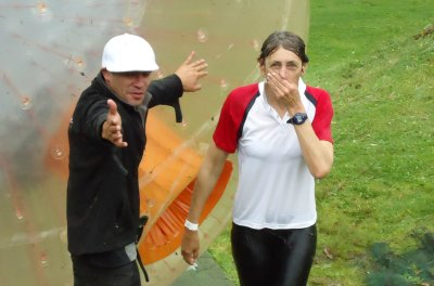 Zorbing in Rotorua - the end result