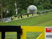 Zorbing at either OGO or Zorb